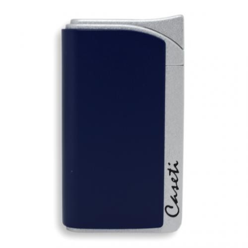 Caseti Jet Flame Lighter Matt Blue & Matt Silver